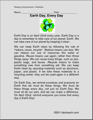 comprehension earth day every day elementary a one page reading comprehension selection. Black Bedroom Furniture Sets. Home Design Ideas