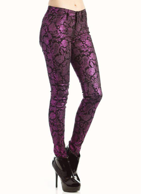 Purple metallic paisley jeans