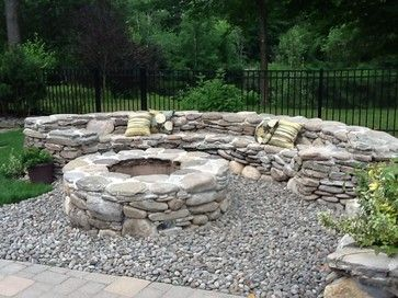 Round Field Stone Fire Pit Self Cap Seating With Back This Seat Would Be Improved By Having A Seat Cap Stone Fire Pit Outdoor Fire Pit Concrete Fire Pits