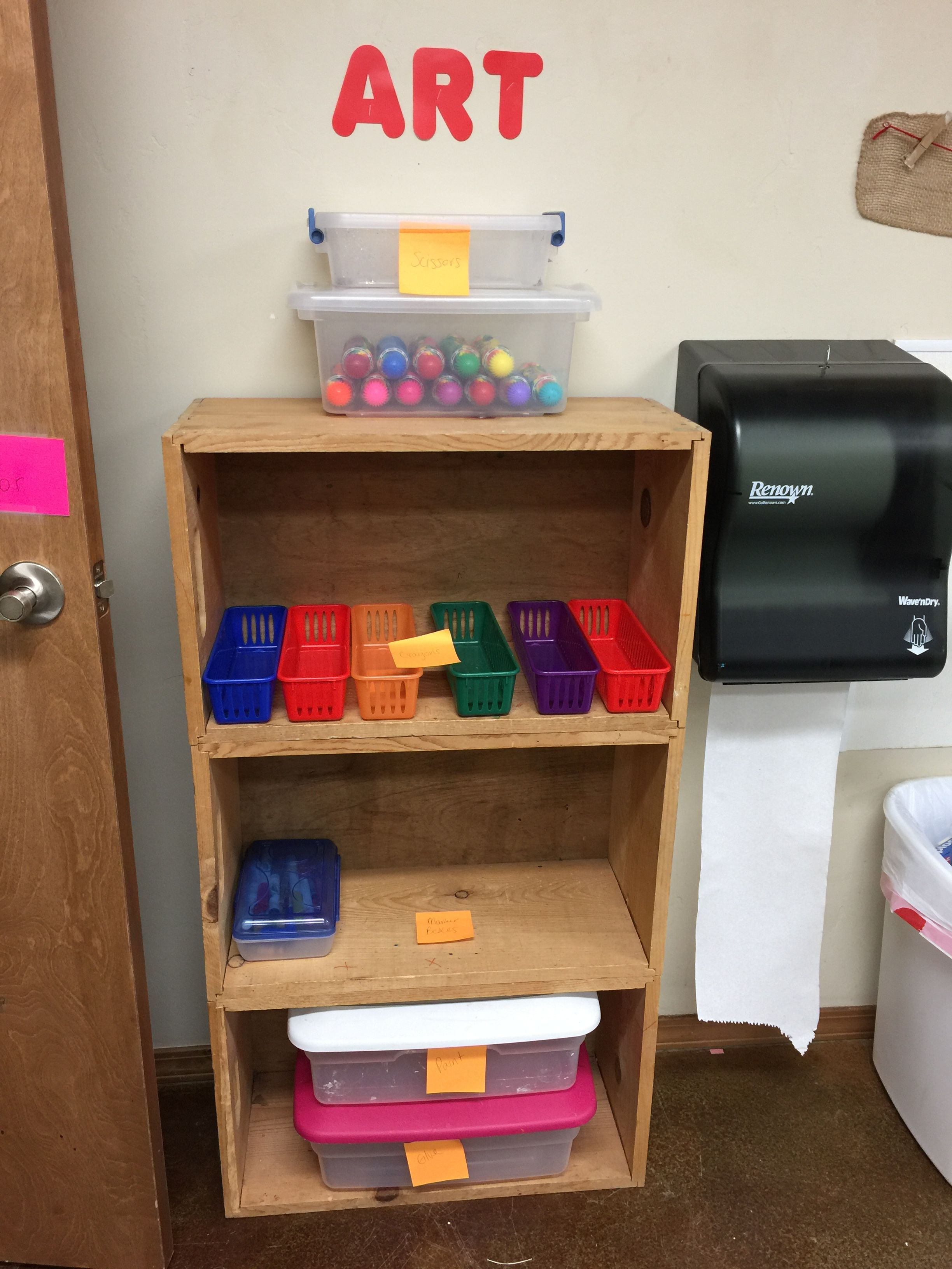 Art Supplies Ready For Sorting At Preschool Open House