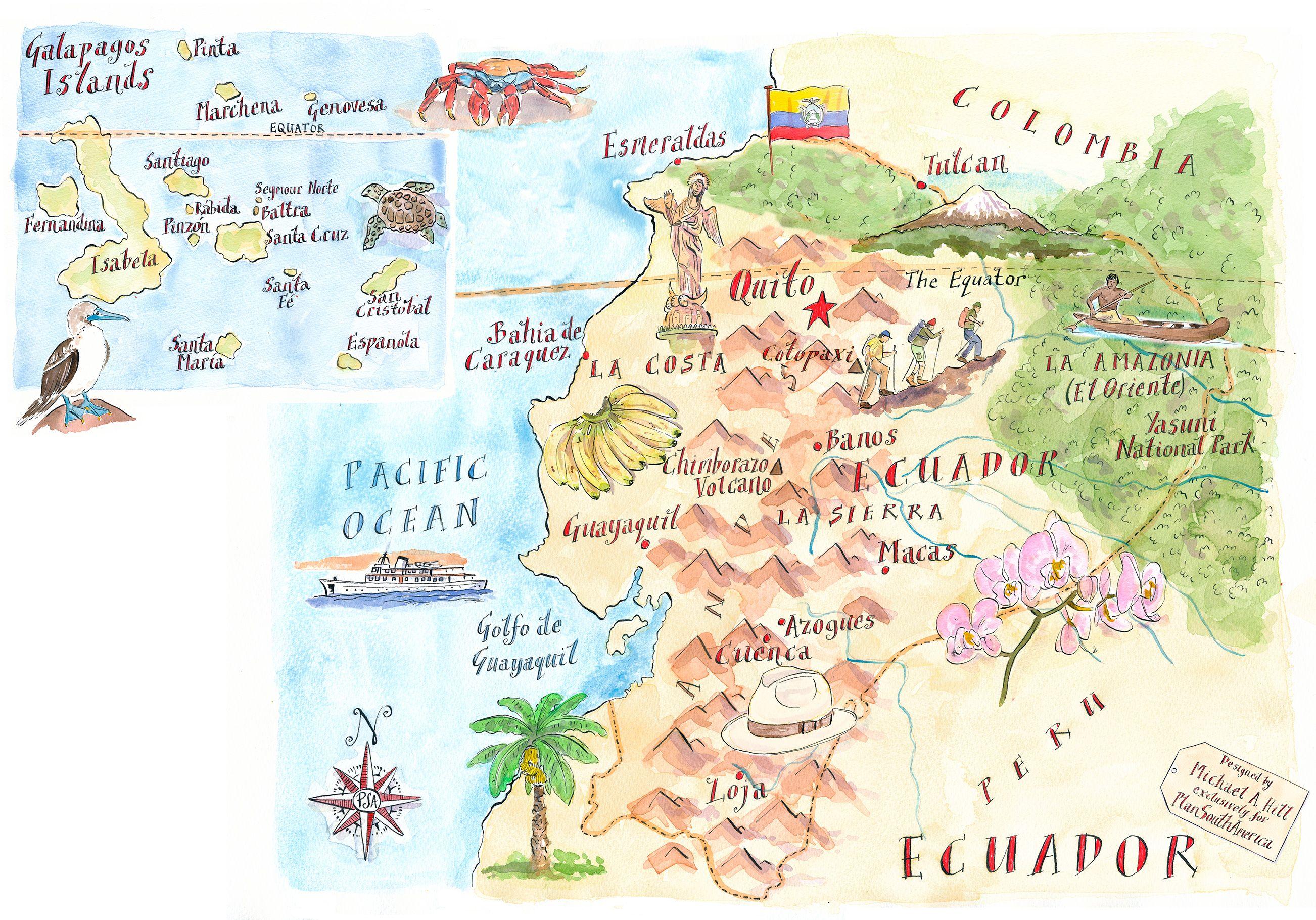 Ecuador Plansouthamerica The Travel Specialists Ecuador Map Latin Travel Illustrated Map