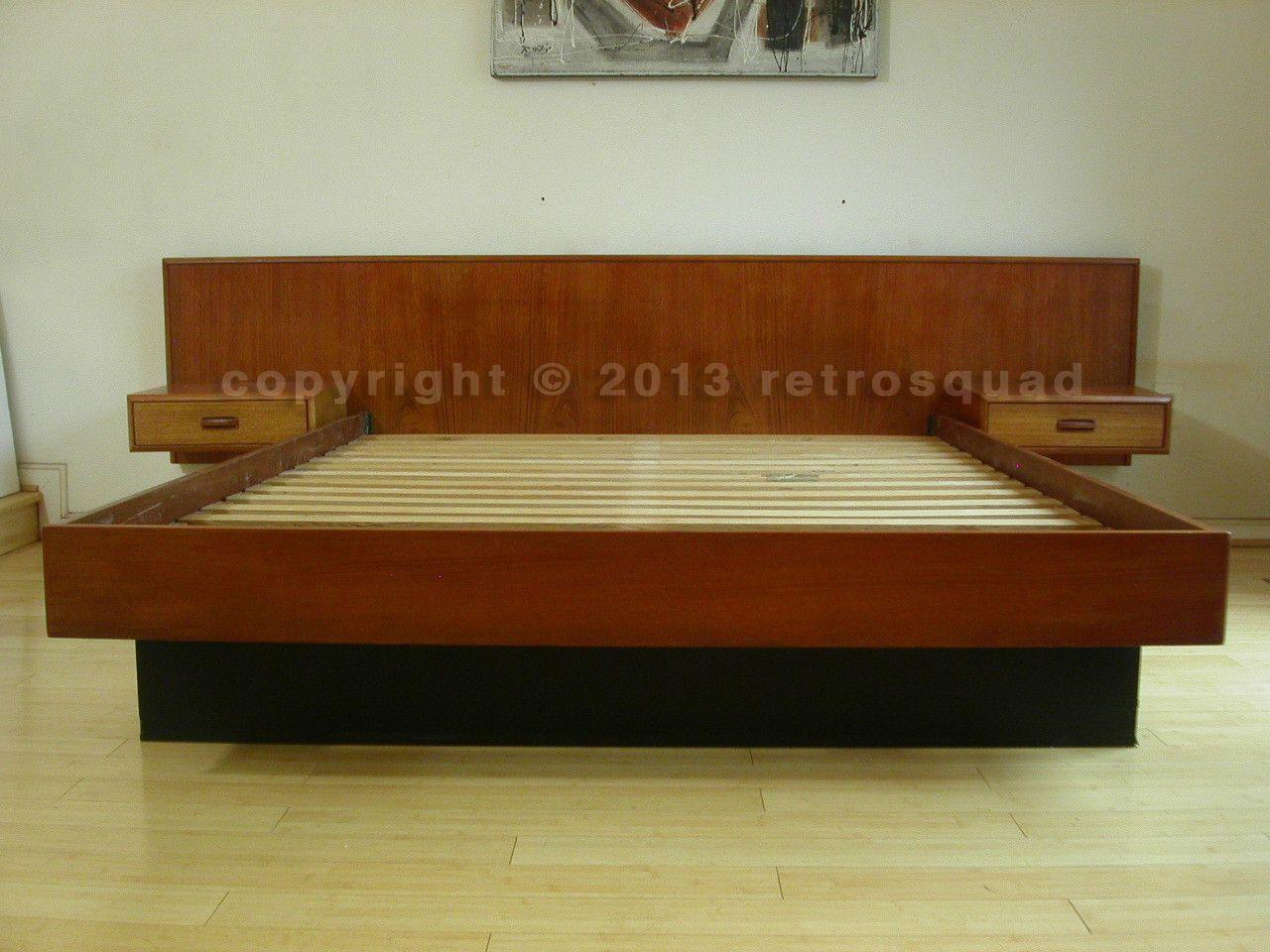 Danish Modern Teak Queen Platform Bed Floating Nightstands 01 House Of M Nightstand