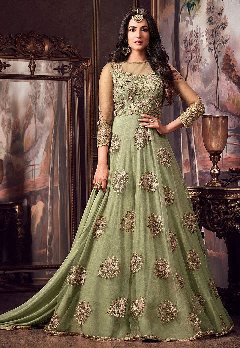 443a22ed549 Buy Embroidered Net Abaya Style Suit in Dusty Green online