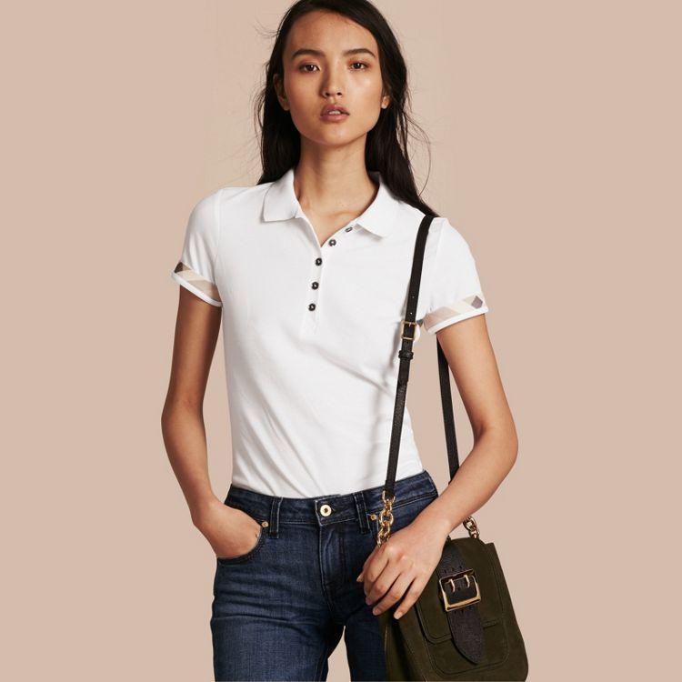 a26a4bc3c0 Check Trim Stretch Cotton Piqué Polo Shirt in White - Women
