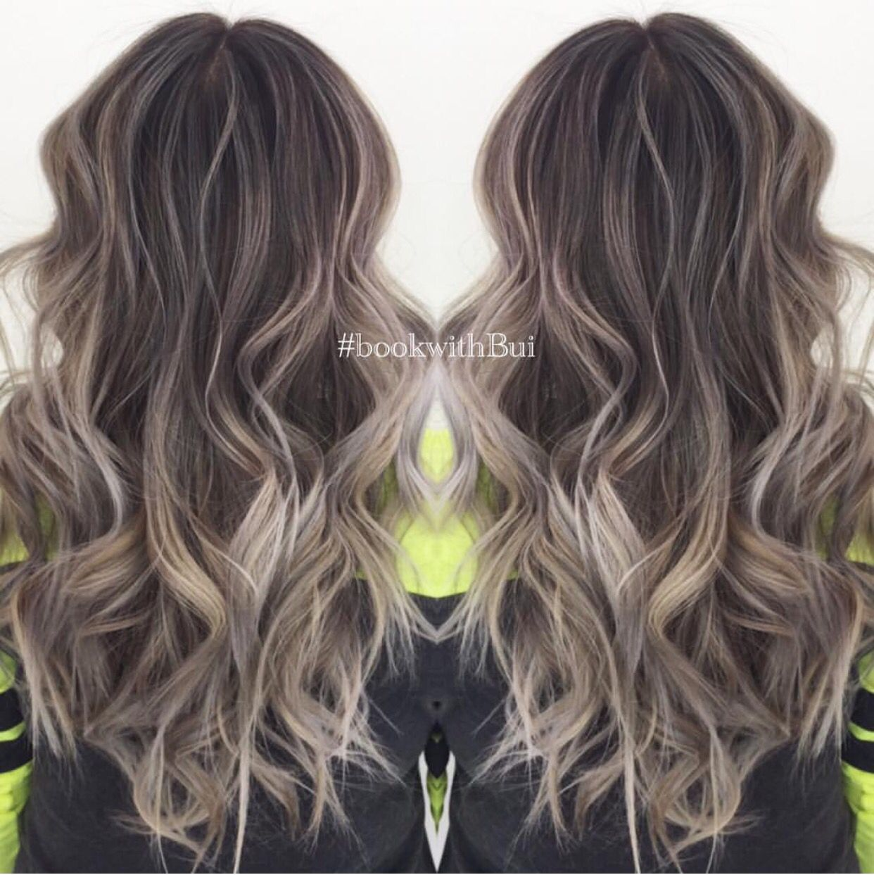 Beautiful Long Dark Brown Hair With Lots Of Cool Tone Ash Blonde Highlighted Balayage Hair Styles Balayage Hair Balayage Hair Dark