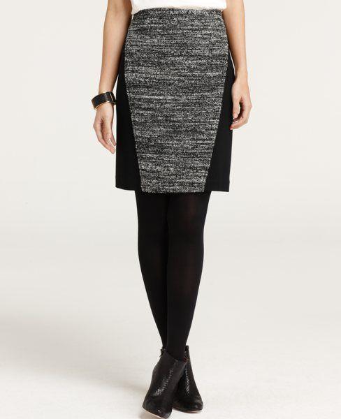 Chunky Linear Knit Tweed Pencil Skirt. Ann Taylor.