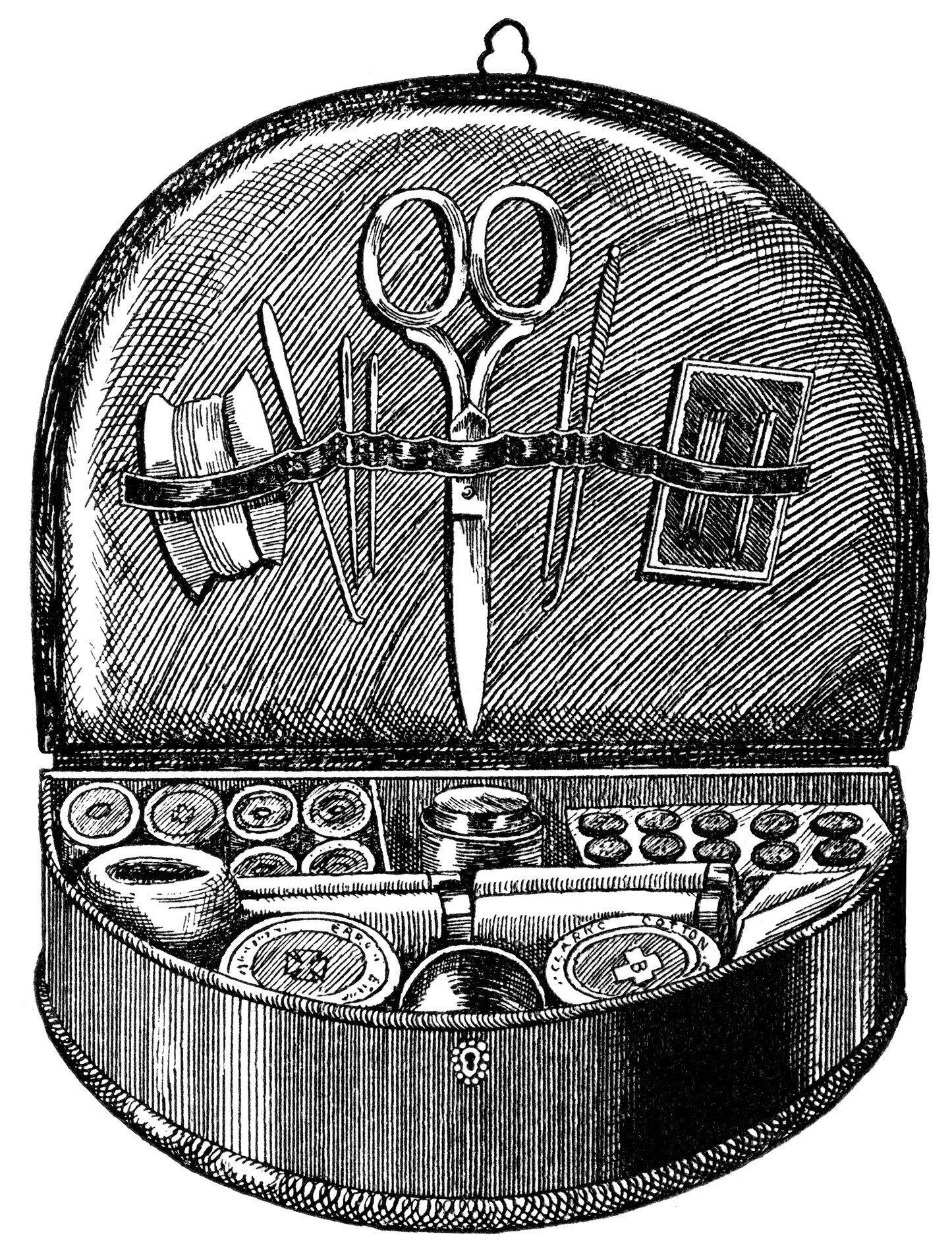 vintage sewing clipart, black and white clip art, hanging sewing box ...