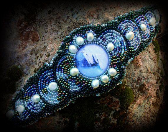 OOAK Fantasy Unicorn beaded cuff bracelet with by PersephonesPlace
