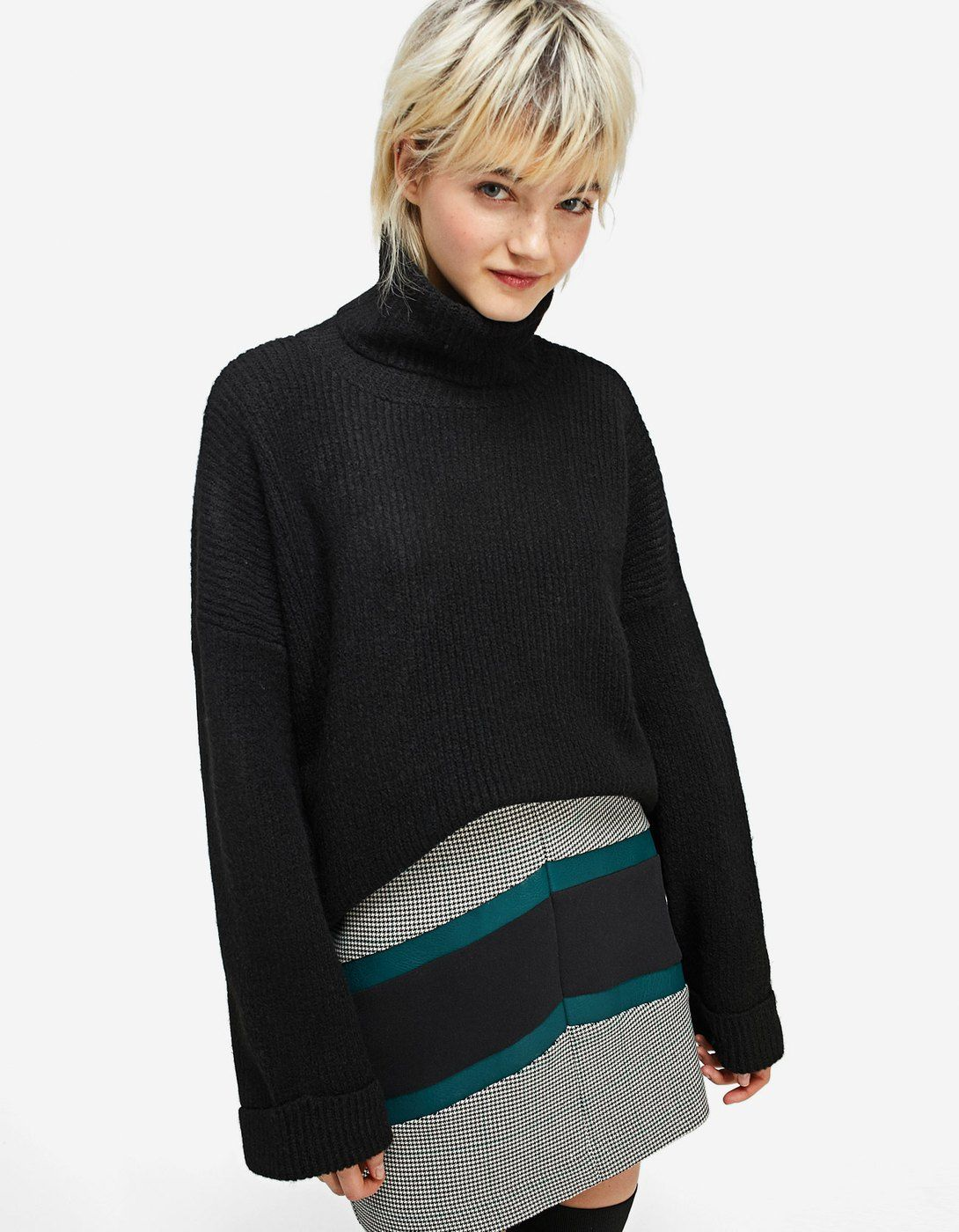 Polo Neck Sweater With Rolled Up Sleeves Just In Stradivarius