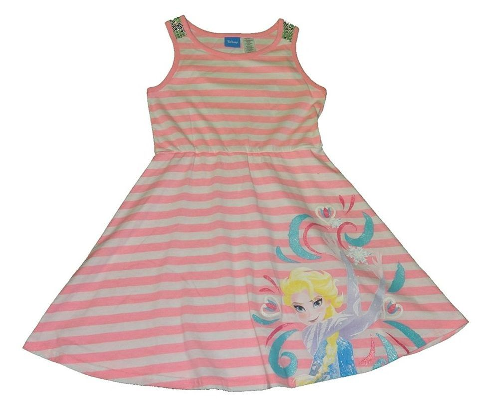 8861ac529ef6 Disney Frozen Elsa Striped A Line Girls Dress size Small