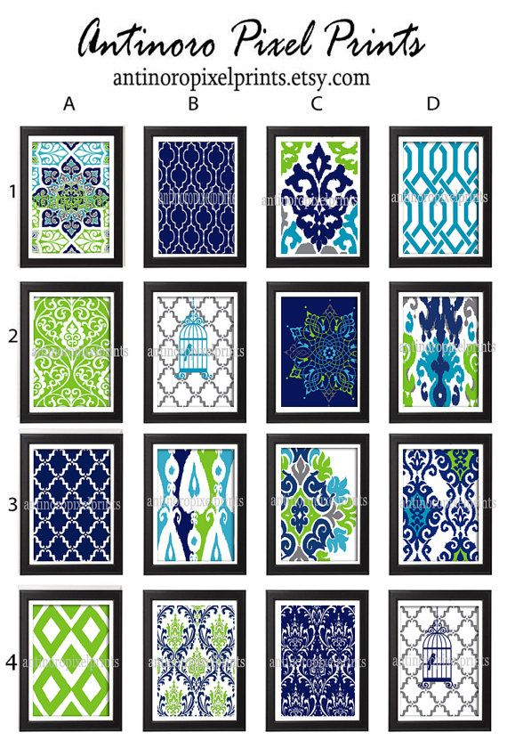 Turquoise navy chartreuse grey damask art print set of - Navy blue and turquoise living room ...