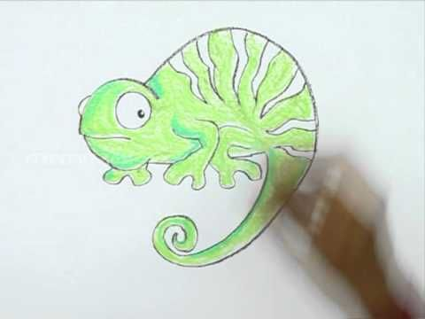 how to draw a chameleon cartoon