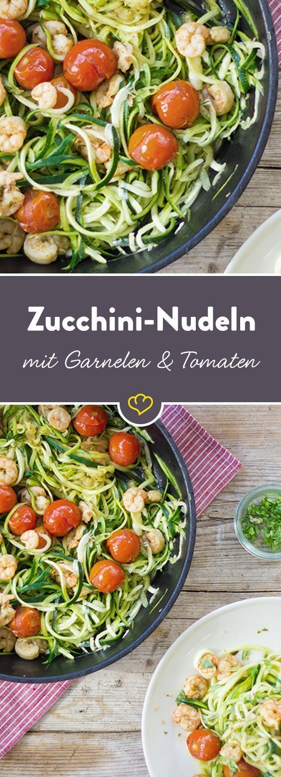Zucchininudeln mit Garnelen und Cherry-Tomaten #recipesforshrimp