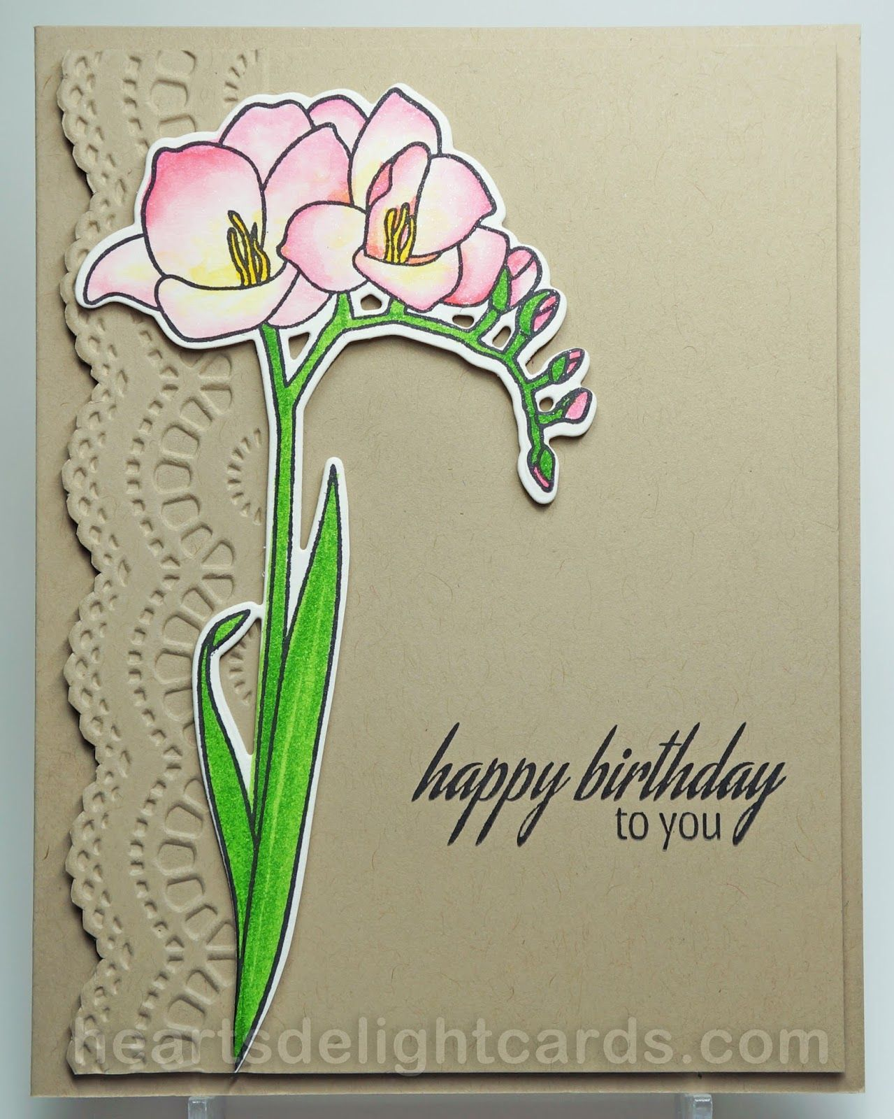 Fresh freesia altenew cards cards and card ideas handmade birthday card from hearts delight cards kraft base with scalloped embossing folder texture and cut gorgeous freesia with equisite coloring izmirmasajfo Images