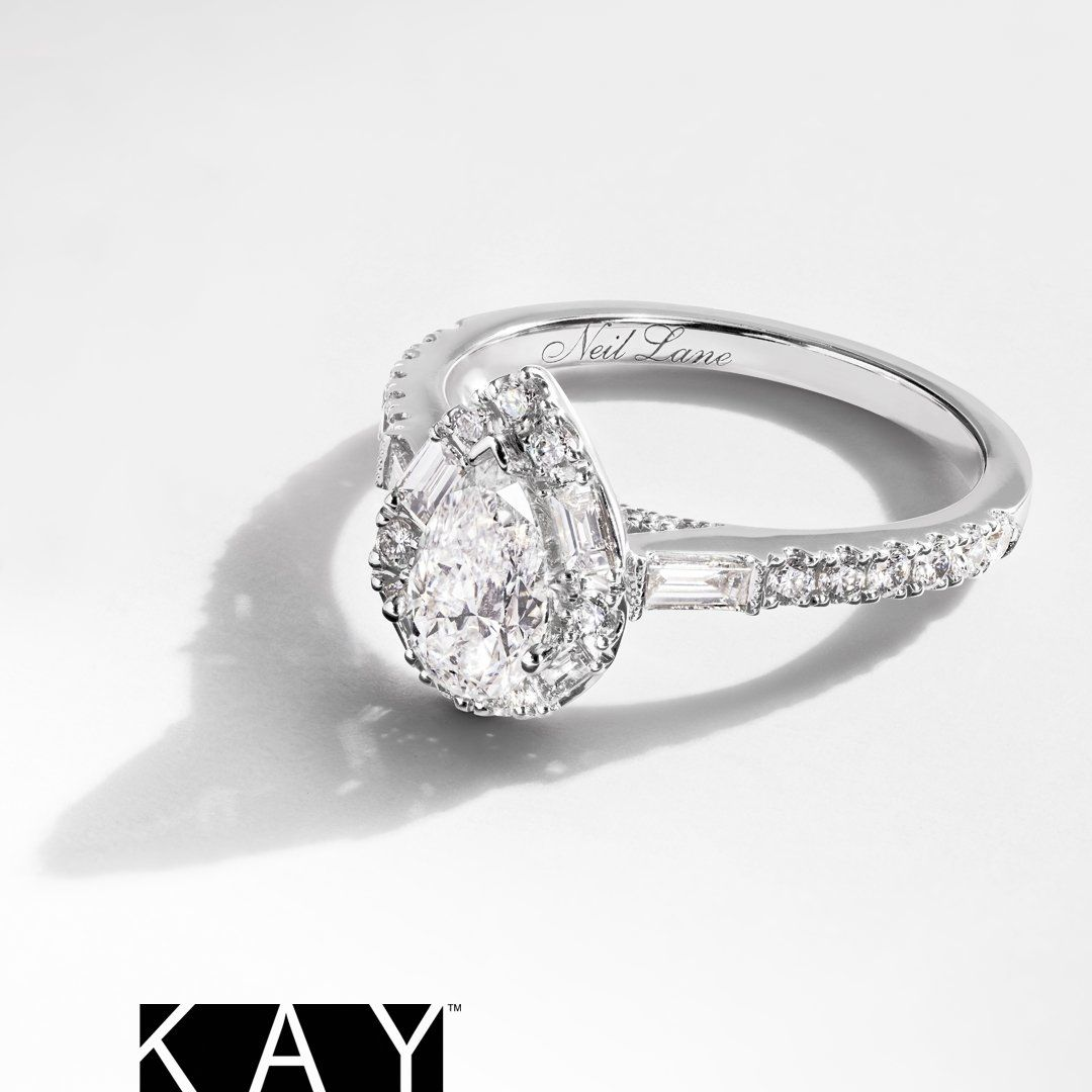 This Beautiful Art Deco Style Pear Shaped Diamond Engagement Ring From Neil Neil Lane Engagement Rings Kay Jewelers Engagement Rings Tear Drop Engagement Ring