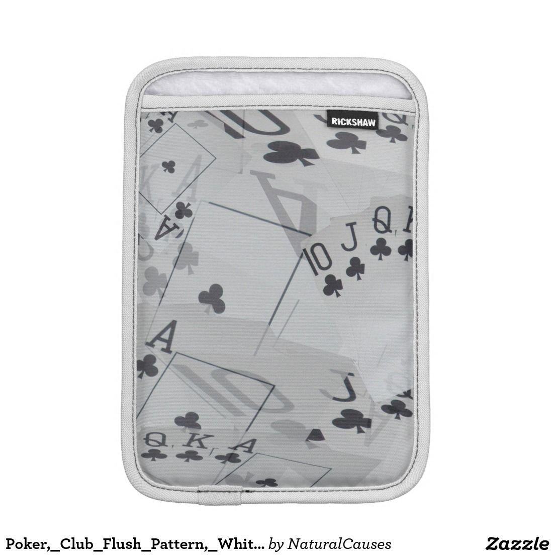 Poker,_Club_Flush_Pattern,_White_iPad_Mini_Sleeve iPad Mini Sleeve