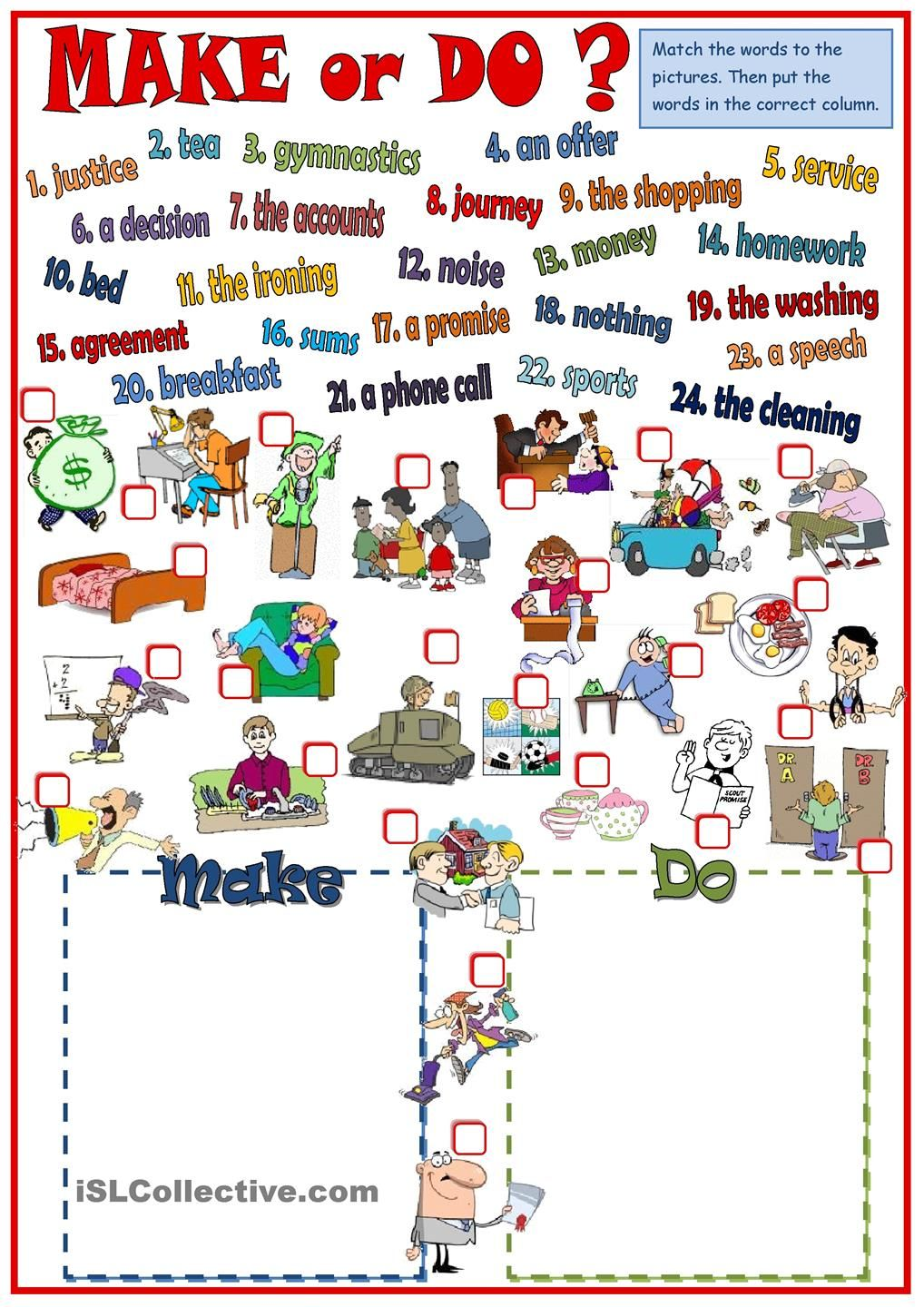 Make or Do - collocations | english | Pinterest | English ...