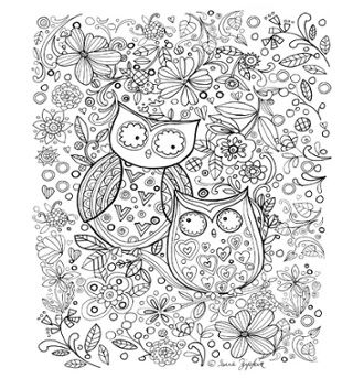 free downloadable 2 owls coloring page by sue zipkin_blog - Owls Coloring Pages 2