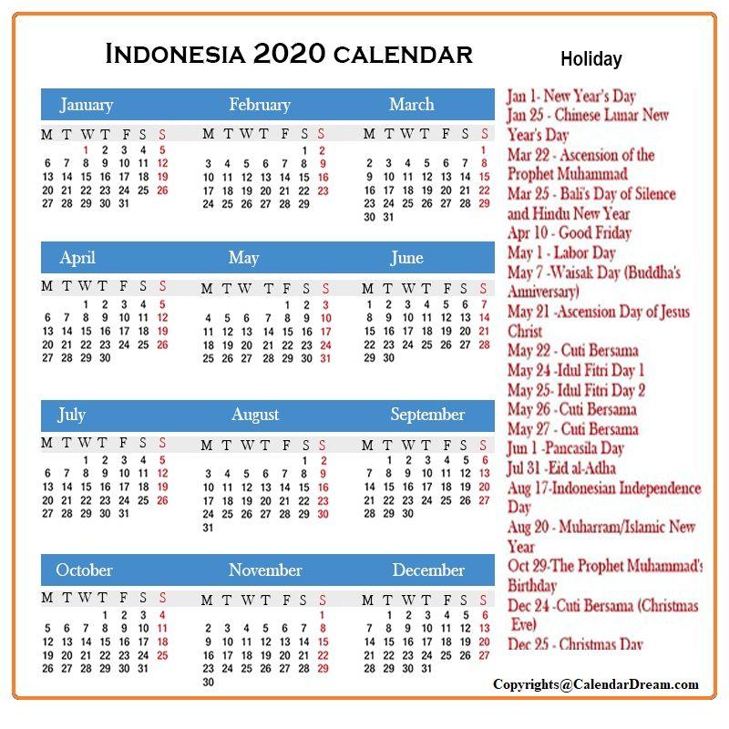 Indonesia 2020 Calendar In 2020 Us Holiday Calendar Holiday Calendar Confederate Memorial Day