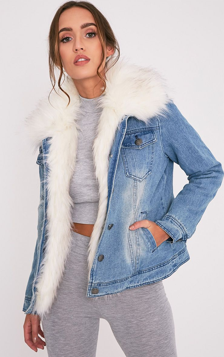 Yalena Denim Premium Faux Fur Lined Jacket Kurtka