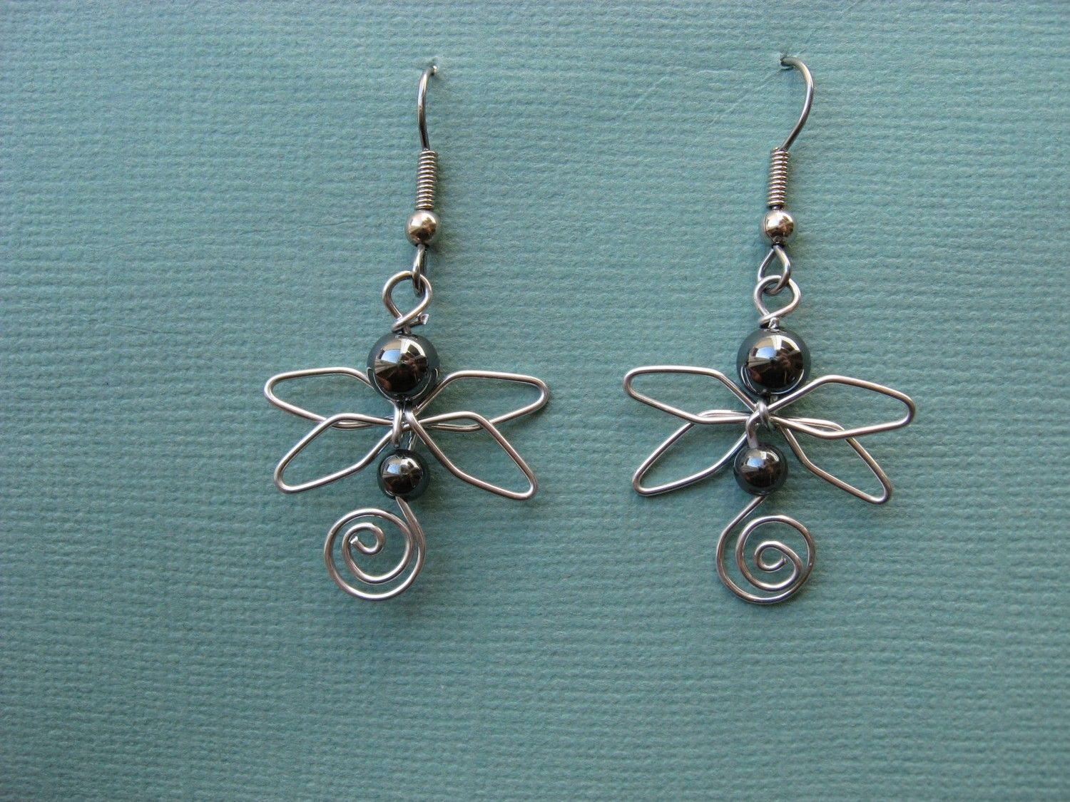 HEMATITE DRAGONFLY EARRINGS wirework by chatnoir77 on Etsy ...