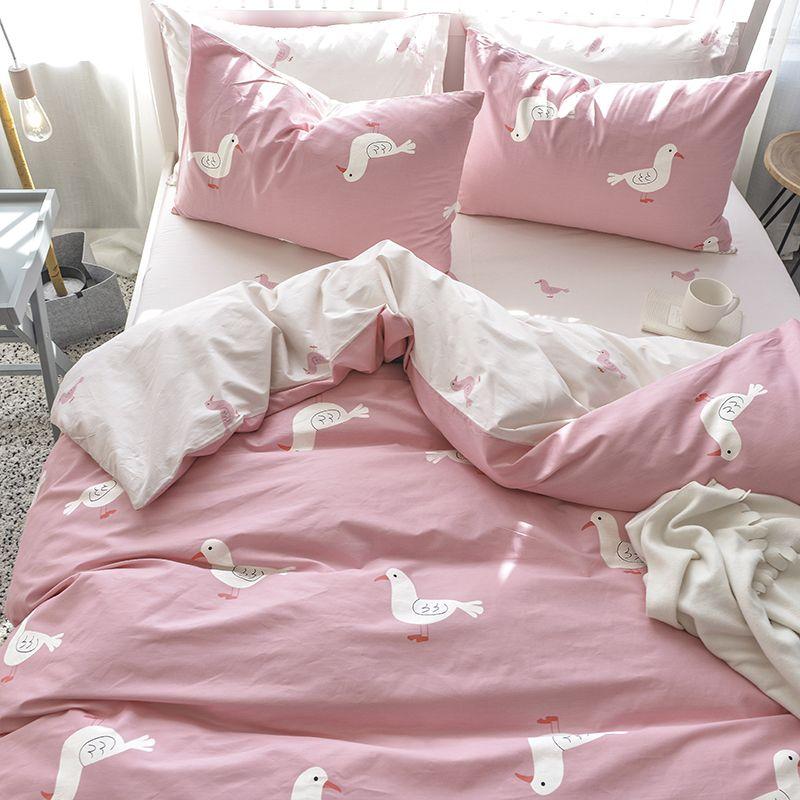 Bedcover Set Cotton Kid Girl Bedding Sets Sheet Girl Pink Bed Set Linen  High Quality Duvet