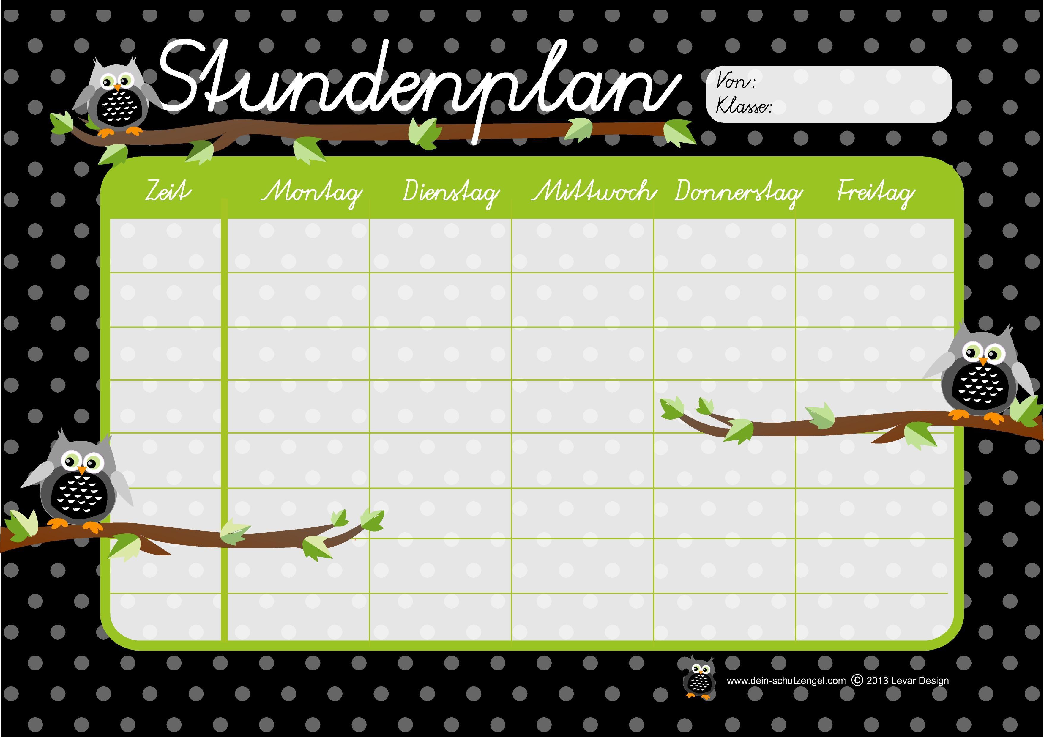 Stundenplan Motiv Eulen | Stundenpläne von Levar Design | Pinterest ...