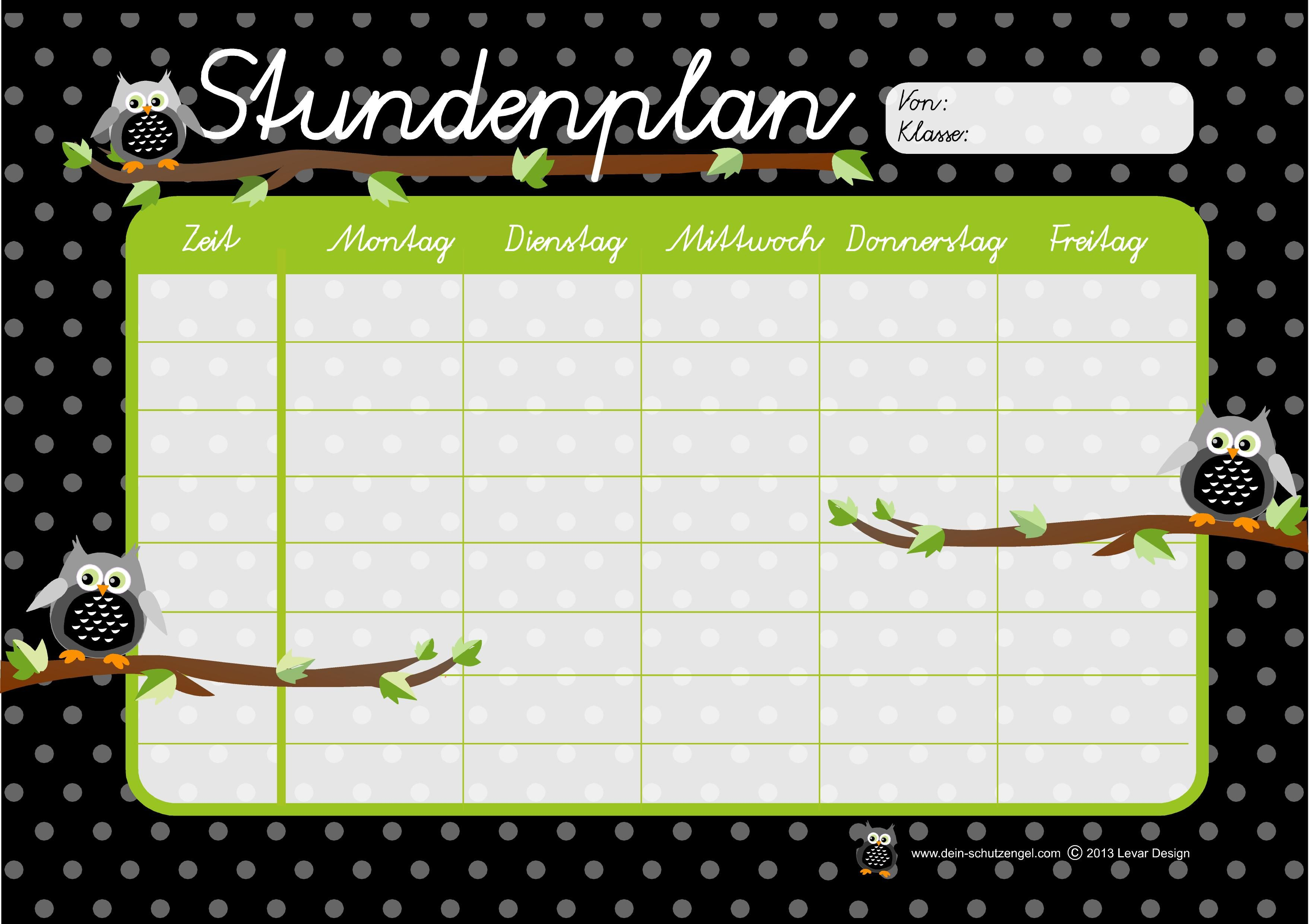 Stundenplan Motiv Eulen   School & Office   Pinterest   School ...
