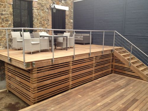 Terrasse bois en hauteur sur pilotis patio pinterest for Photos terrasse en bois