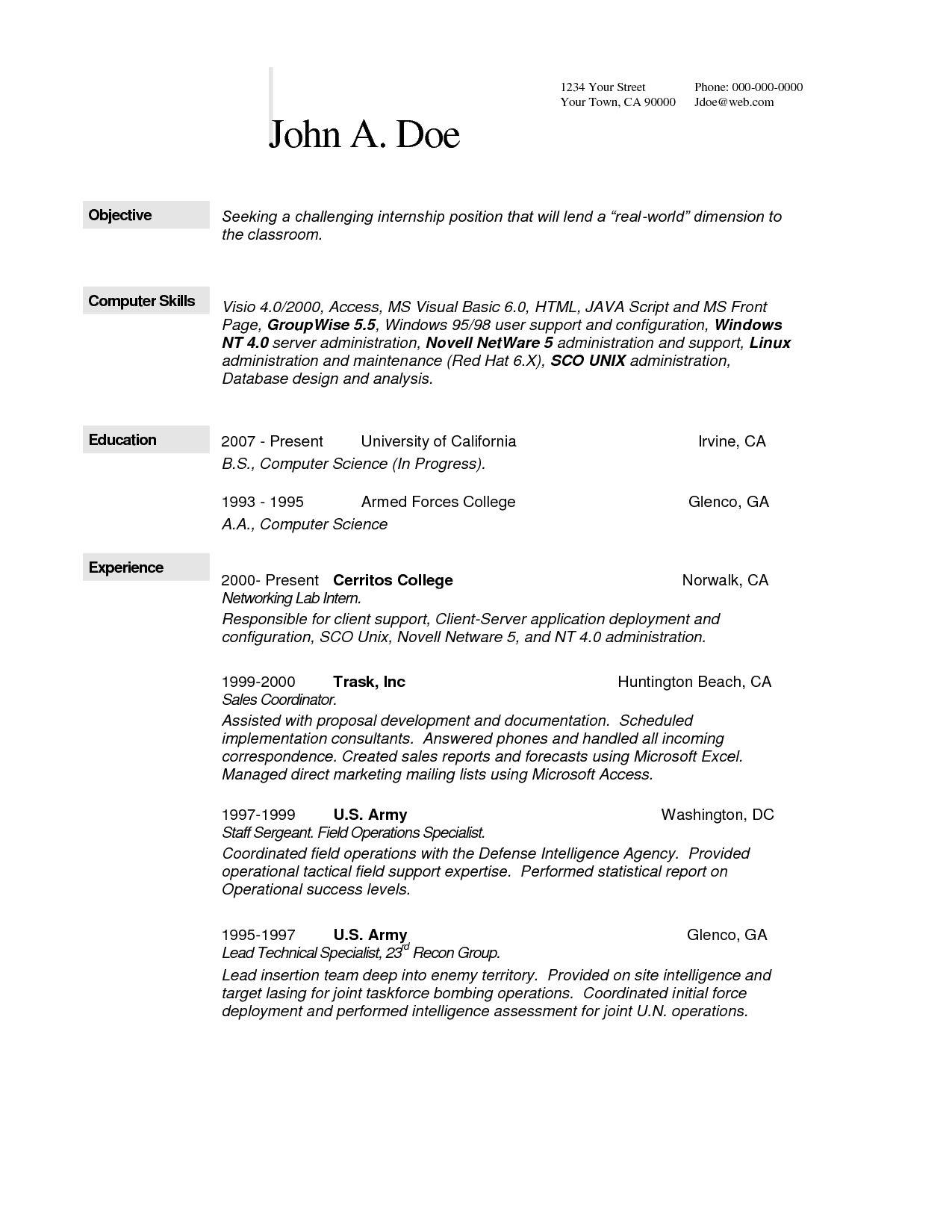 Computer Science Resume Templates Pinterest Sample Resume
