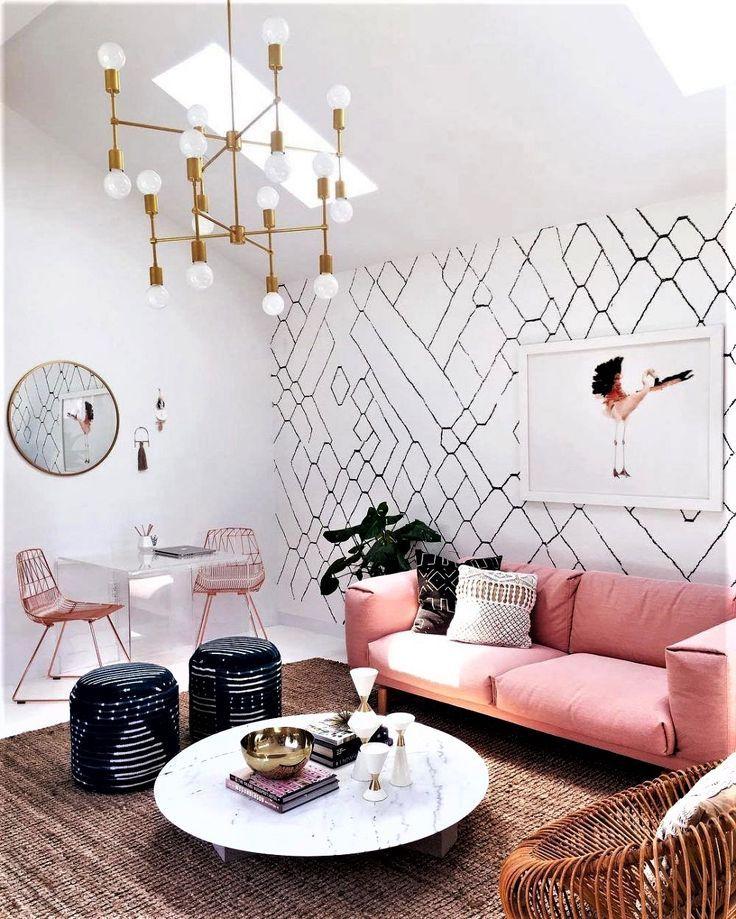 Just Look At That Pink Sofa And Mid Century Light With Images Decor Room Decor Interior