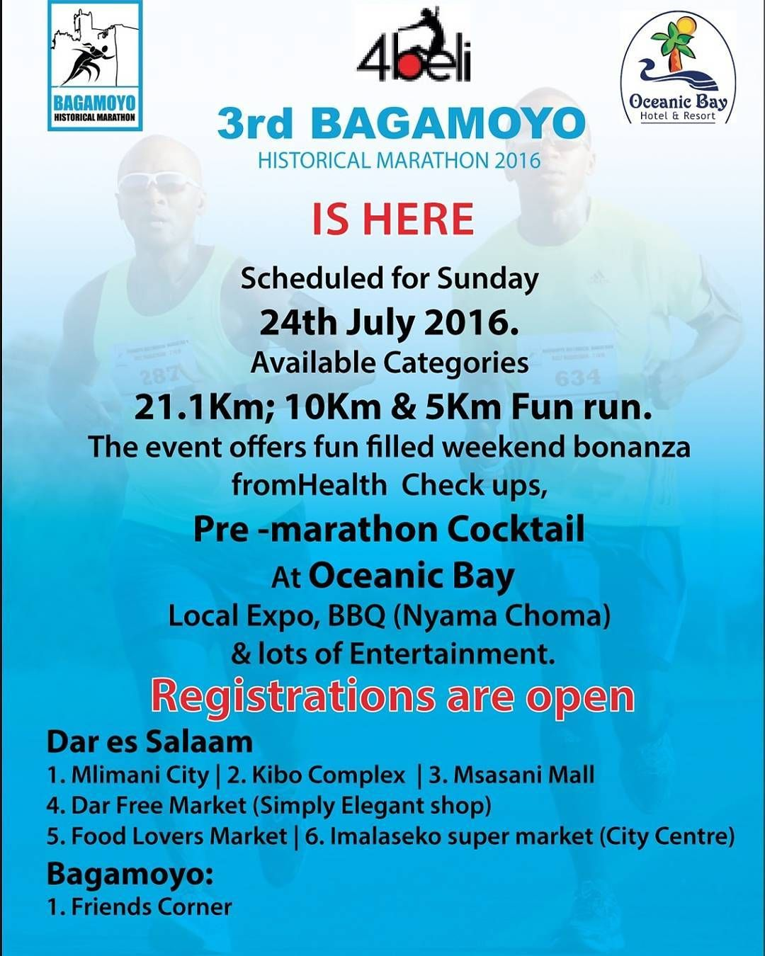 Kwa maelezo zaidi  CC:0655550066 or info@bagamoyomarathon.co.tz  For more info  CC:0655550066 or info@bagamoyomarathon.co.tz  #StopNonCommunicableDiseases #StartRunning #4DaysToGo #BagamoyoHistoricalHalfMarathon #OceanicBayHotelAndResort #4Beli #VisionInvestments #Bagamoyo