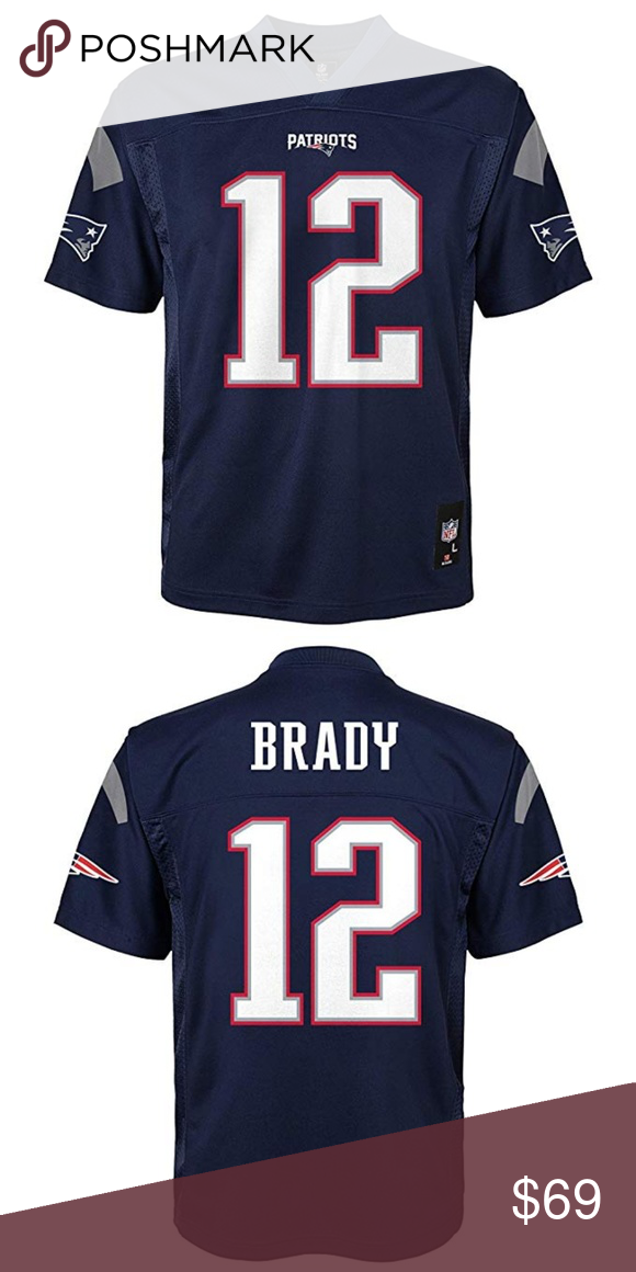 Tom Brady New England Patriots Kids Navy Jersey Officially Licensed By Nfl 100 Polyester Soft Feel Fabric Silk S Tom Brady News New England Patriots Patriots