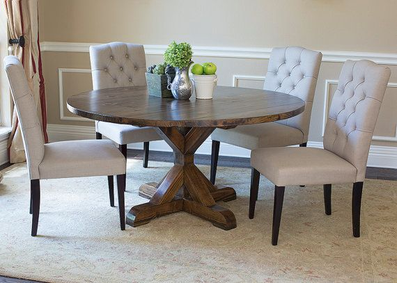 Solid Wood Round X Base Table By Ldjordanfurniture On Etsy