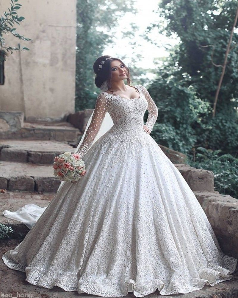 Click To 2017 Vintage Muslim Lace Ball Gown Wedding Dresses