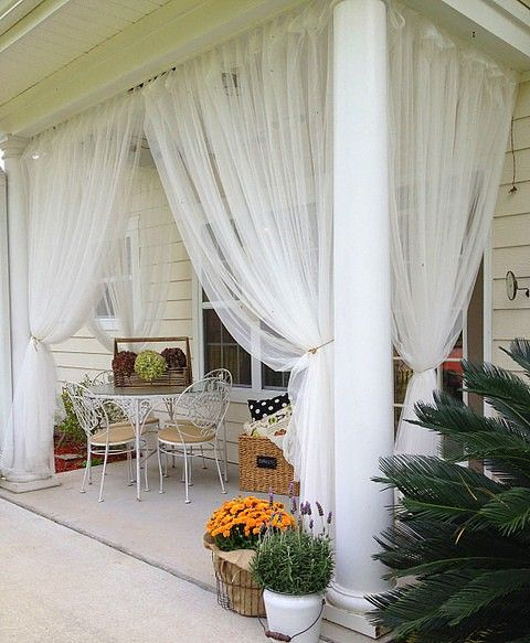Good Sheer Curtains Are A Great Year Round Idea For Covered Porches  They Keep  The Bugs Out And Are Beautiful!