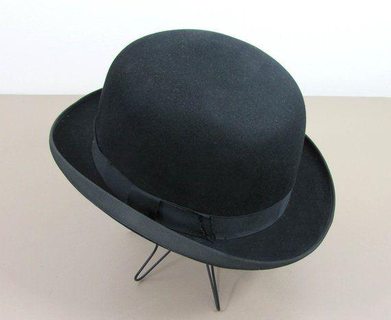 Vintage Black Felt Bowler Hat by Adam Hats - 7-3 8  bbb13908e01