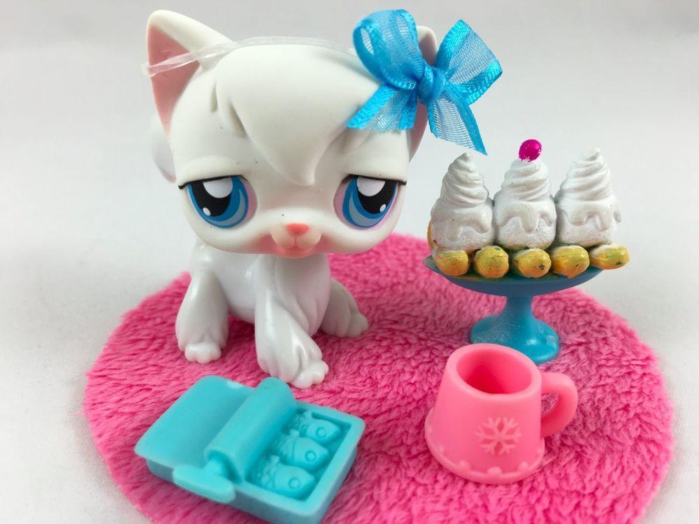 Littlest Pet Shop White Angora Cat #9 w/Blue Eyes & Accessories #Hasbro