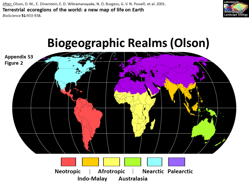 Image detail for -Biogeographic Realms (Olson) | My Father\'s World ...