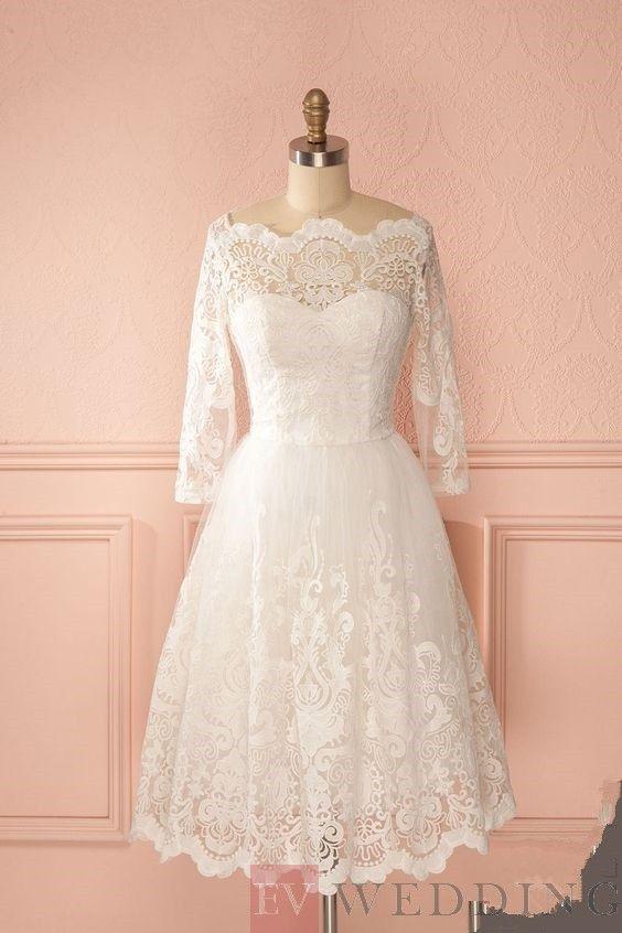 197534117 Gorgeous A-Line Off-the-shoulder Lace Scoop Neckline Short Wedding Dress