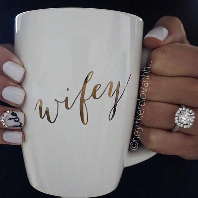"""Here Comes The Bride With Some Awesome Nails: Love The Nail Art And """"wifey"""" Mug For Wedding Day/near"""