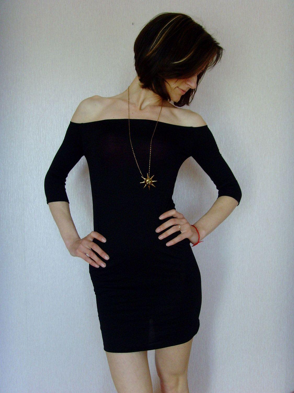 a2bcc1dff229 Feminine Super Tight Stretchy Mini Party Dress Eco Friendly Little Black  Dress Off Shoulder By Cvetinka
