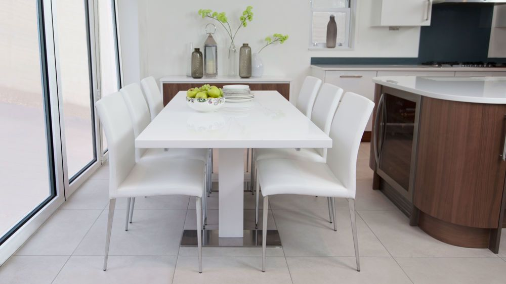 Sanza Small Extending White Gloss Dining Table White Dining