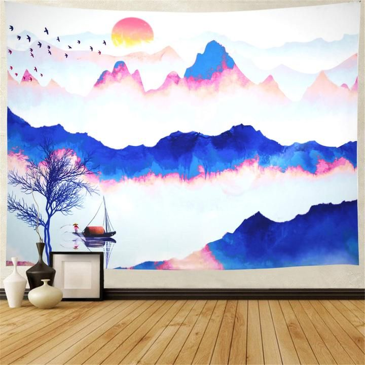 Chinese Watercolor Tapestry In 2020 Tapestry Tapestry Nature