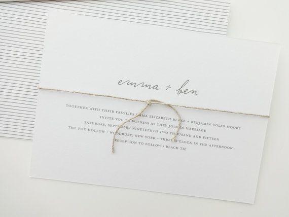 Emma Simple Wedding Invitation Deposit Rehearsal Dinner