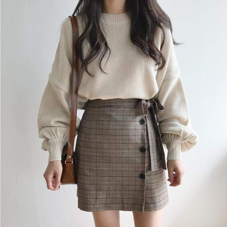Photo of Autumn Winter Style Vintage Lantern Sleeve Knitted Pullover Ladies