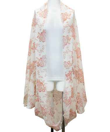 Another great find on #zulily! White & Rose Floral Kimono #zulilyfinds