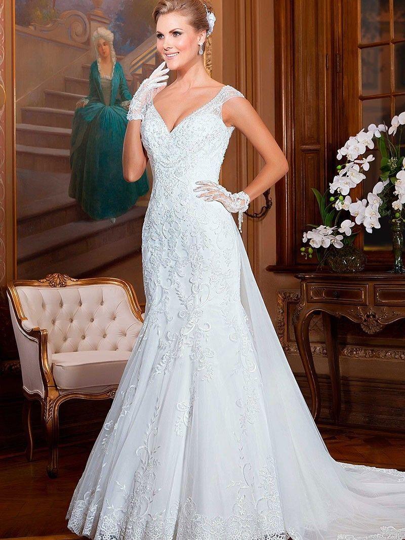 Detachable Train Mermaid Wedding Dress 2017 vestido de