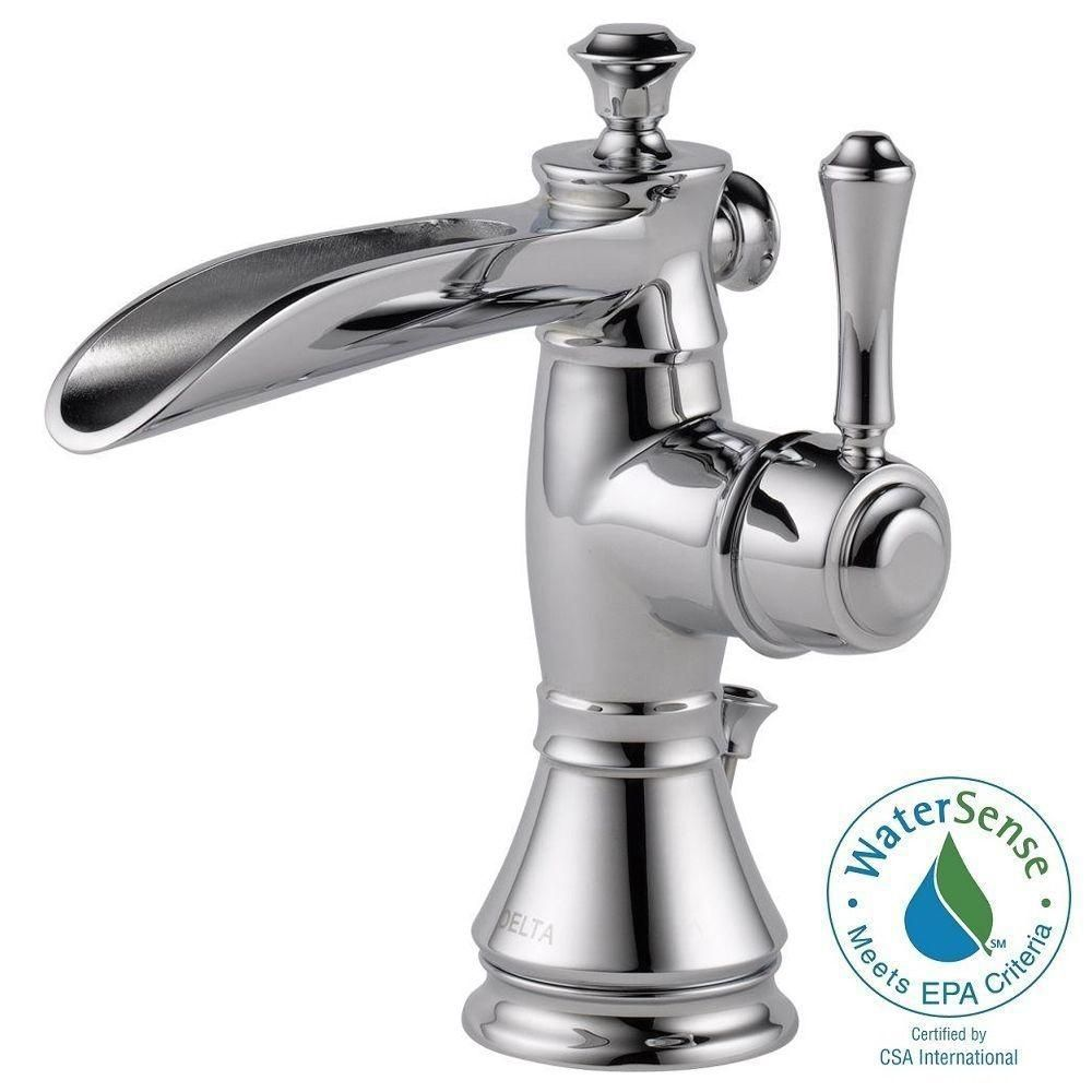 Delta Cassidy Single Hole Single Handle Open Channel Spout Bathroom Faucet  In Chrome With Metal Pop Up