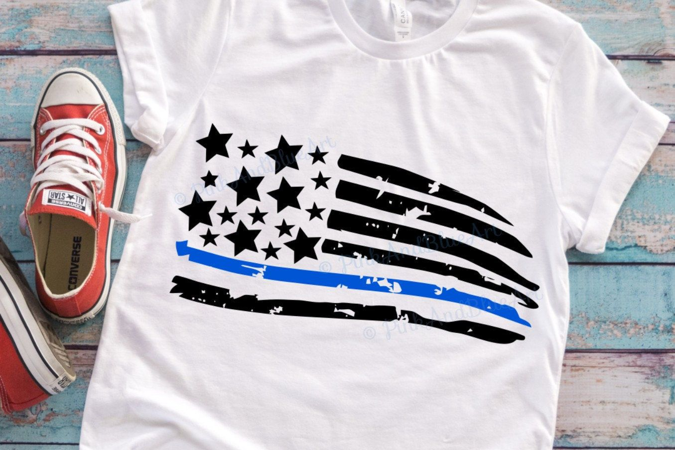 Thin blue line svg, Distressed american flag svg, law